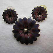 Vintage Mexico Taxco Maya Sterling Silver Flower Enamel Brooch Pendant Pierced Earrings