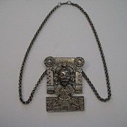 "Vintage Hobe Mexico ""Rare"" Aztec Metal Necklace Big and Shinny"