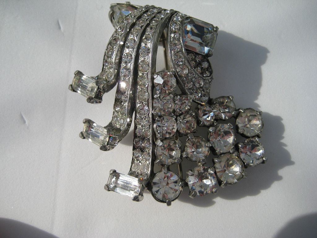 Early Vintage HUGE Eisenberg Florence Nathan Signed Rhinestone Fur Clip Pin Brooch