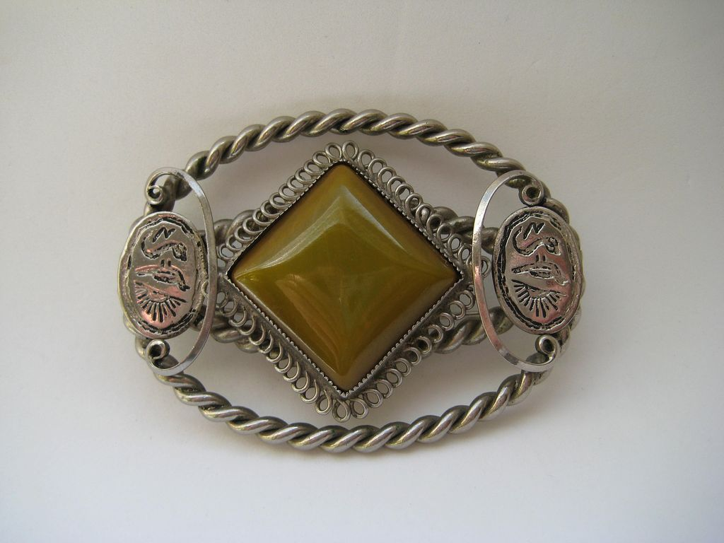 Vintage Egyptian Art Deco Revival Huge Glass Pin Brooch