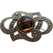 Vintage Sterling Silver Glass Tiger Eye Marcasite Brooch Pin