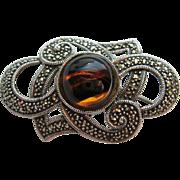 Vintage Sterling Silver Glass Tiger Eye Marcasite Brooch Pin