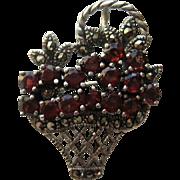 """Vintage Garnet Sterling Silver Flower """"MINI""""  Basket Figural Marcasite Brooch Pin"""