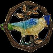 Vintage Victorian Guilloche Enamel Blue Jay Bird Figural Brooch Pin