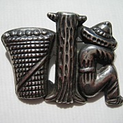 Vintage Mexico Taxco Figural Early Signed Mexican Silver Man Sombrero Basket Pin