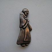 Vintage Mexico Taxco Los Castillo Sterling Figural Woman Peasant Pin Brooch