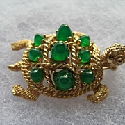 Vintage Boucher Turtle Rhinestone Figural Signed Brooch Pin