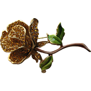 Vintage Kramer of New York Enamel Encrusted Yellow Rose Rhinestone Floral Flower Brooch Pin