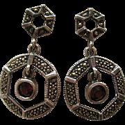 Vintage Garnet Marcasite Art Deco Style Sterling Silver Dangle Pierced Earrings
