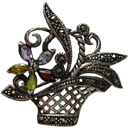 "Vintage Sterling Silver ""Mini"" Floral Flower Basket Marcasite Pin Brooch"