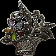 """Vintage Sterling Silver """"Mini"""" Floral Flower Basket Marcasite Pin Brooch"""