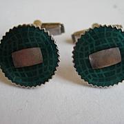 "Vintage Japanese Cufflinks  Art Deco Miyamoto ""RARE"" Silver Enamel Green Guilloche Cufflink links"