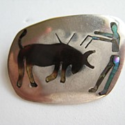 Vintage Mexico Taxco Inlaid Sterling Silver Signed Bull Fighter Bull Brooch Pin