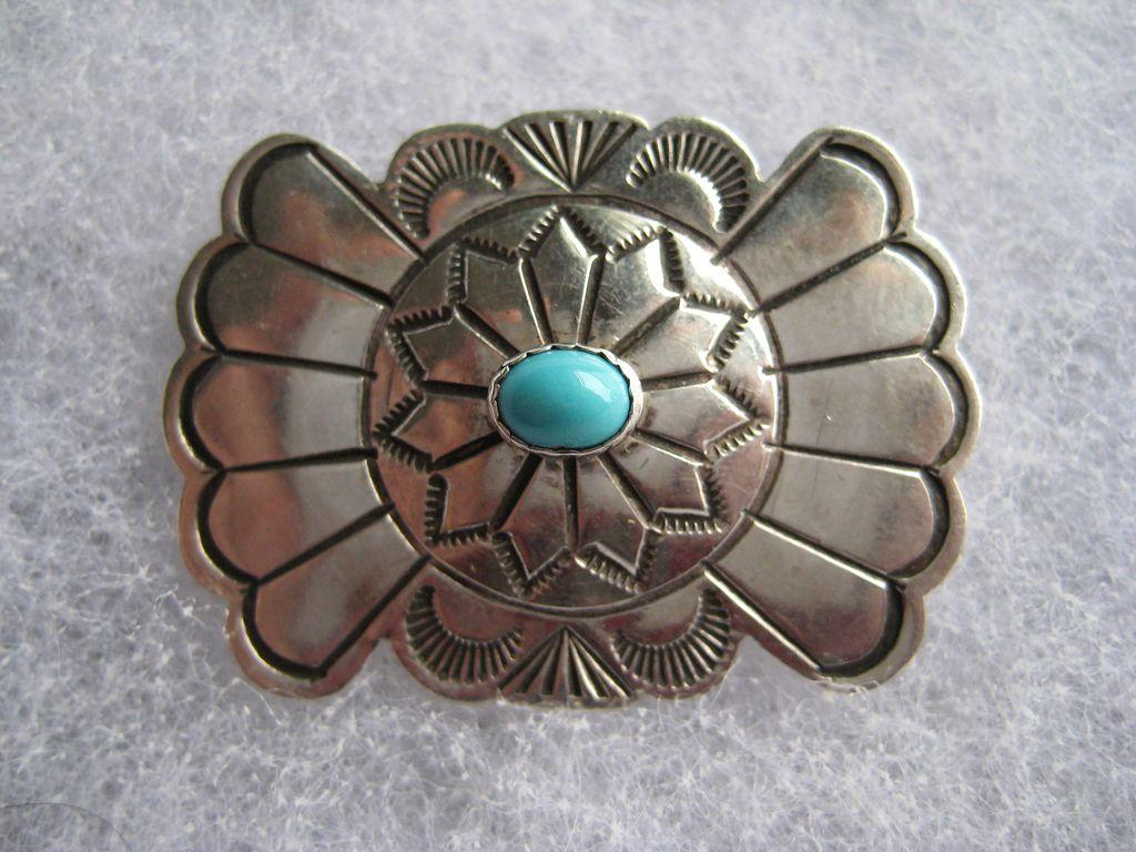 Vintage Navajo Native American Turquoise Engraved Sterling ...