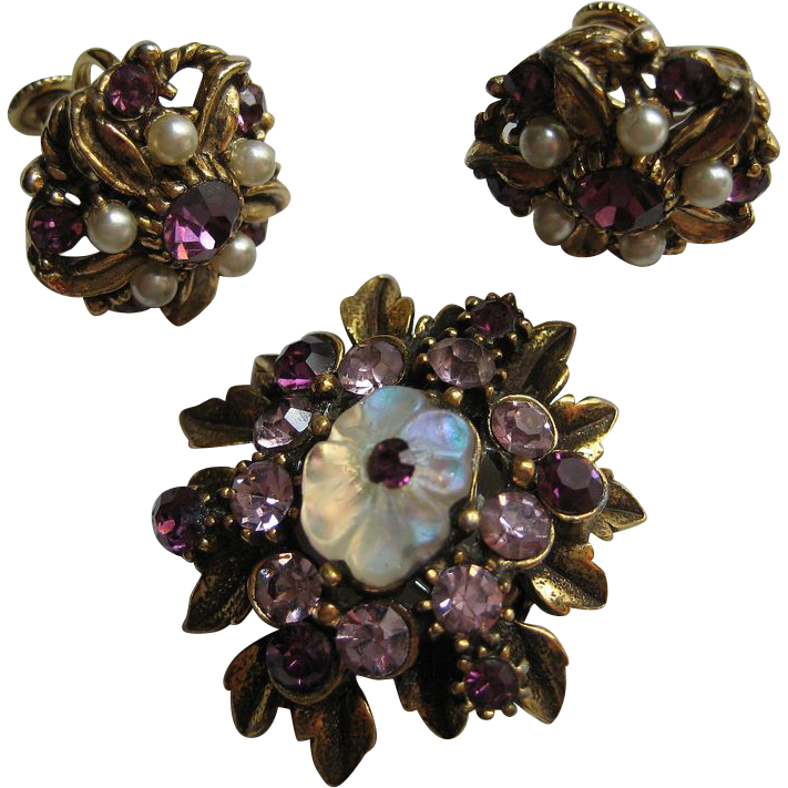 vintage florenza signed floral purple flower demi set brooch pin from cosmic