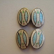Vintage Cufflinks Double Sided Art Deco Enamel Pastel Floral Guilloche