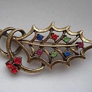 """Vintage Beatrix Christmas Holly Leaf Rhinestone  """"BIG""""  Brooch Pin"""