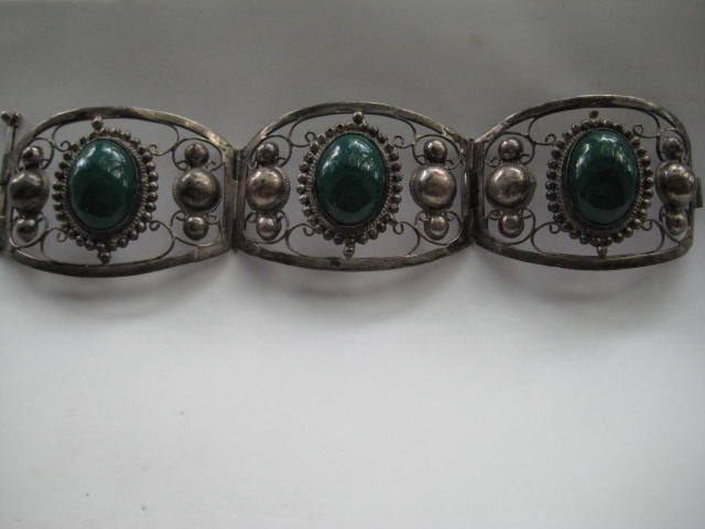 Vintage Mexico Taxco Large Sterling Silver Green Stone
