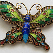 Vintage China Butterfly Figural Metal Enamel MINT Pin Brooch