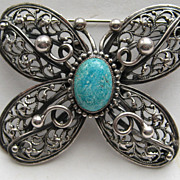 "Vintage Maurice Hollywood ""RARE"" Butterfly  Figural Blue Brooch Pin"