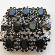 "Vintage Juliana Delizza Elster "" HUGE"" Belt Buckle Black  Rhinestones"