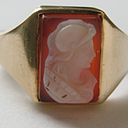 Vintage Edwardian Ring 10 Karet Gold Yellow Hardstone Cameo