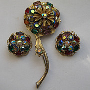 Vintage Kramer Flower Floral Stylized Rhinestone Pin Clip Earrings Set