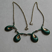 Vintage Norway Necklace Green Guilloche Modernism
