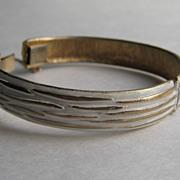 Vintage Kramer Bracelet Clamper Cuff White Enamel