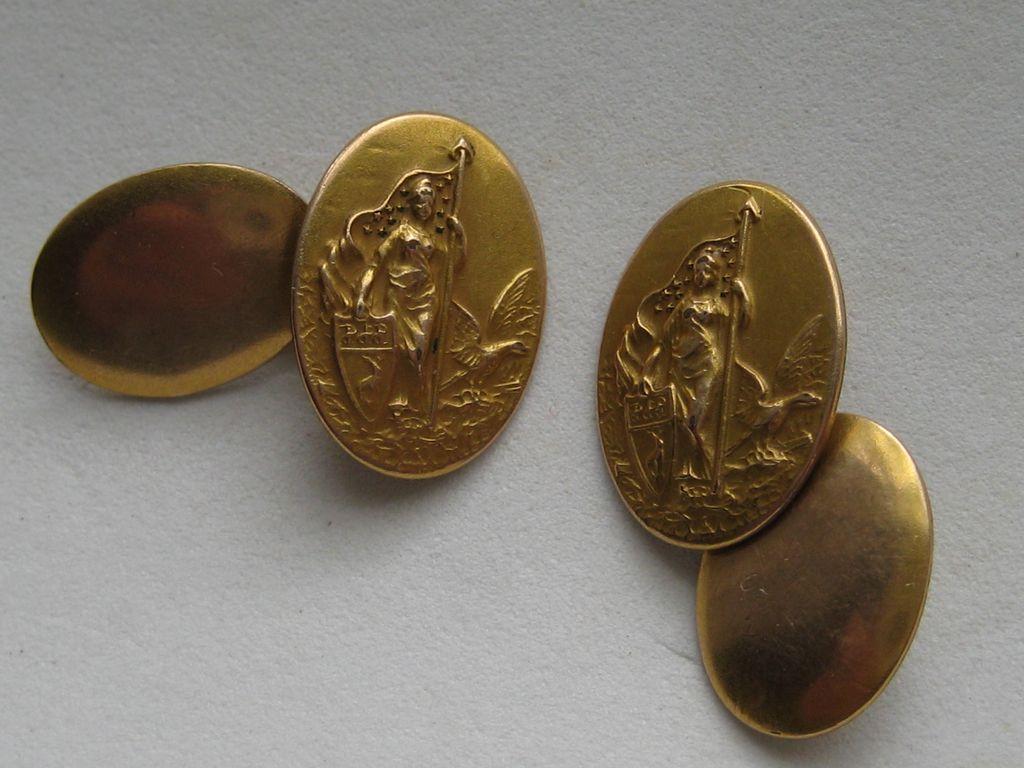 """Vintage VictorianCufflinks"""" WAR WOMEN"""" Patriotic  Brass Figural"""