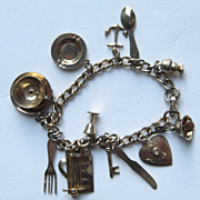 Vintage CORO Charm Bracelet 14 Charms Gold Tone Unusual Charm