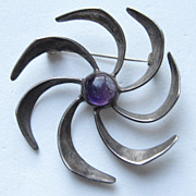 "Taxco Mexico VINTAGE Modern Modernist Early PIN ""PINWHEEL"" Amethyst Cabochon Vintage Brooch"