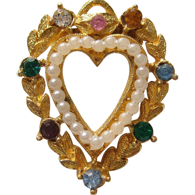 "Vintage Crown Trifari ""LOVE""  Heart Faux Pearl Pin Brooch"