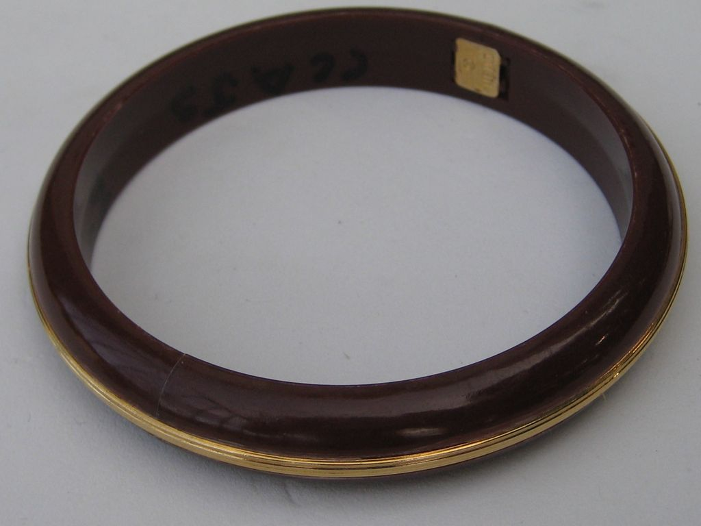 Vintage NEMO Bangle Bracelet Lucite Brown Gold Tone Accent