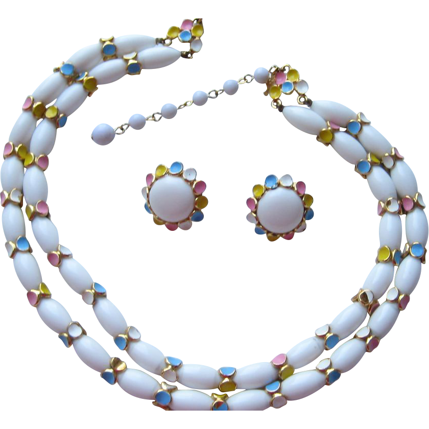 Vintage Crown Trifari EASTER COLORS Enamel Pastel Necklace Earrings Set