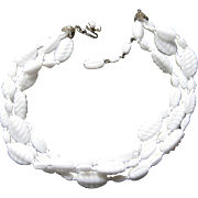 Vintage Miriam Haskell Triple Strand Swirl Twisted White Poured Glass Necklace