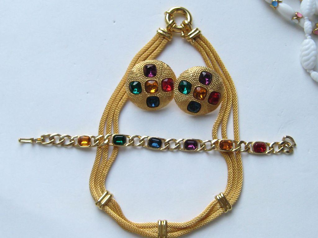Vintage NAPIER Necklace Bracelet Clip Earrings Rhinestone Mesh Set