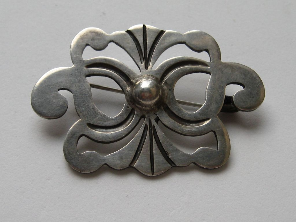 Vintage Taxco Mexico 980 Modernism Sterling Silver Exceptional Pin Brooch