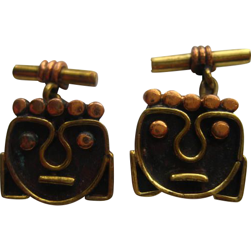 "Vintage "" MODERNIST"" Cufflinks FACES Brass Copper Mexico Taxco Cuff Link"