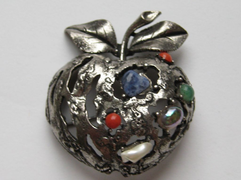 Vintage Coro Apple Pin 3-D Stylized Faux Pearl Lapis Jade Coral Brooch