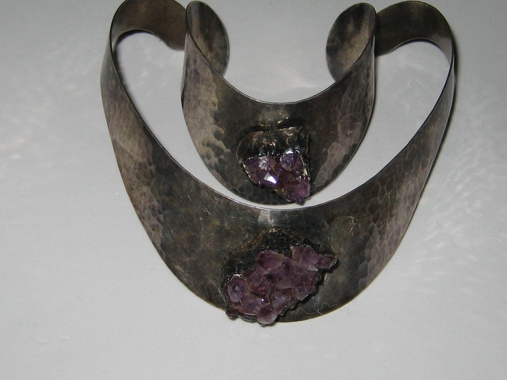 Vintage Denmark Modernist JACOB HULL Silver Amethyst CRYSTAL Necklace Bracelet Cuff Set