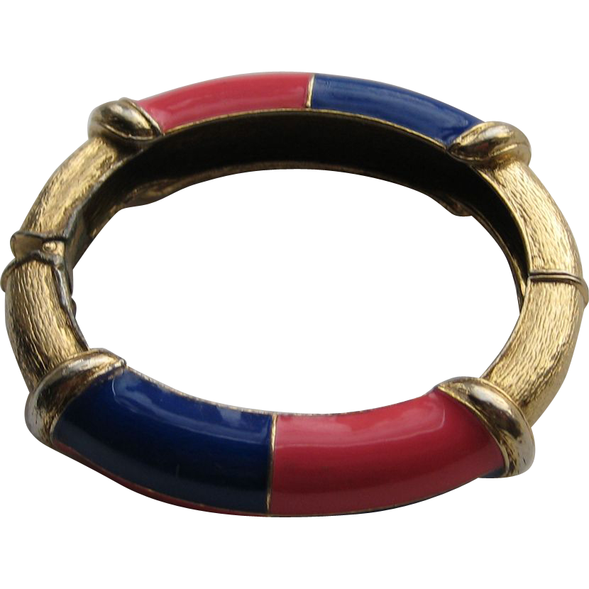 Vintage CINER RED BLUE Enamel Clamper Bracelet Cuff Signed