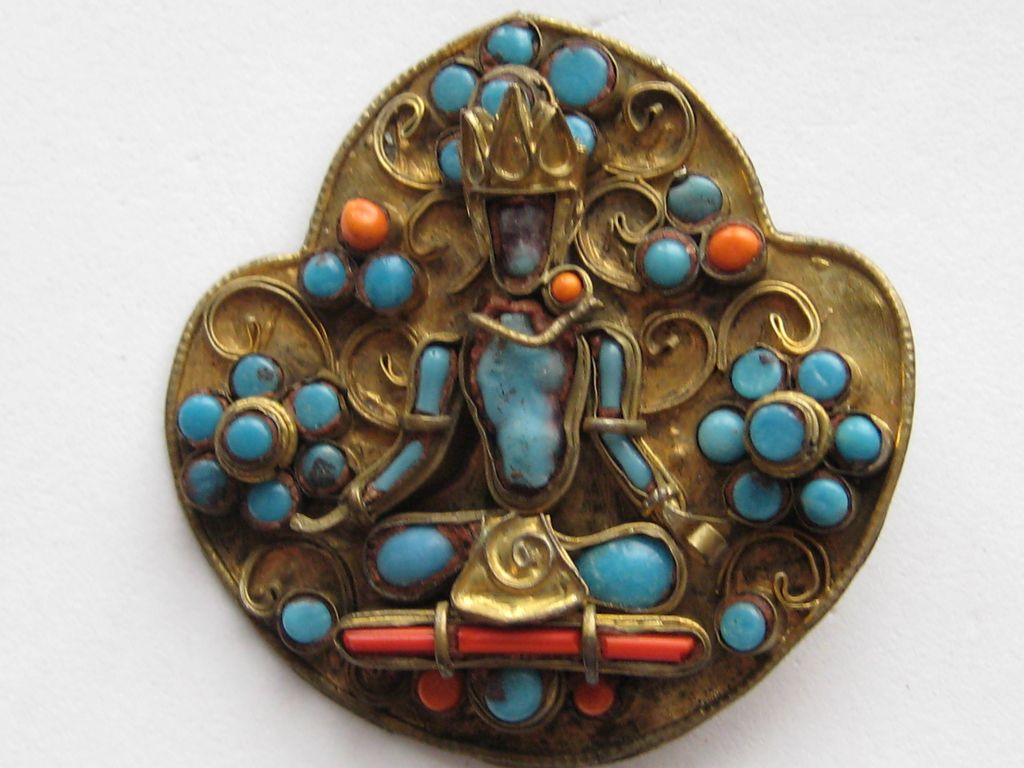 Very Old Tibetan Faience Buddha Brass Pin Turquoise Coral