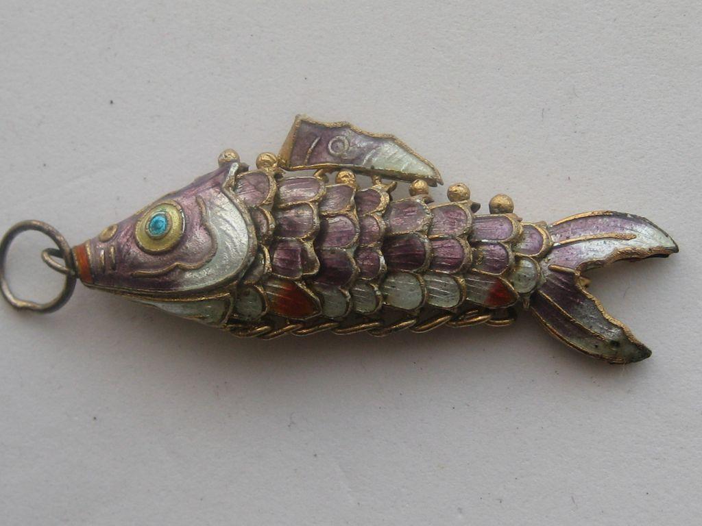 Vintage china koi carp necklace enameled cloisonne for Chinese koi fish for sale