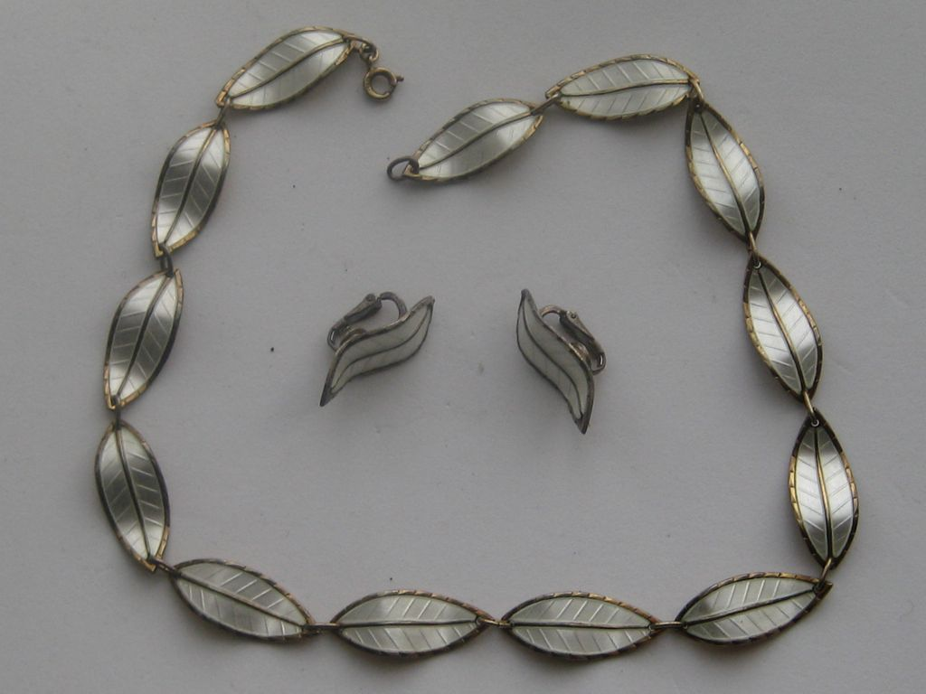 "Sterling Enamel Norway Ivar Holt Modernist ""Leaf "" Necklace Earrings Stunning"