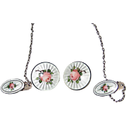 Vintage Mid Century Sterling Silver Enamel Rose Sweater-Guard Matching Earrings - NORWAY - Finn Jensen