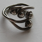 Vintage Taxco Mexico  Modern Modernist Ring Sterling Silver SIZE 7  Signed Early