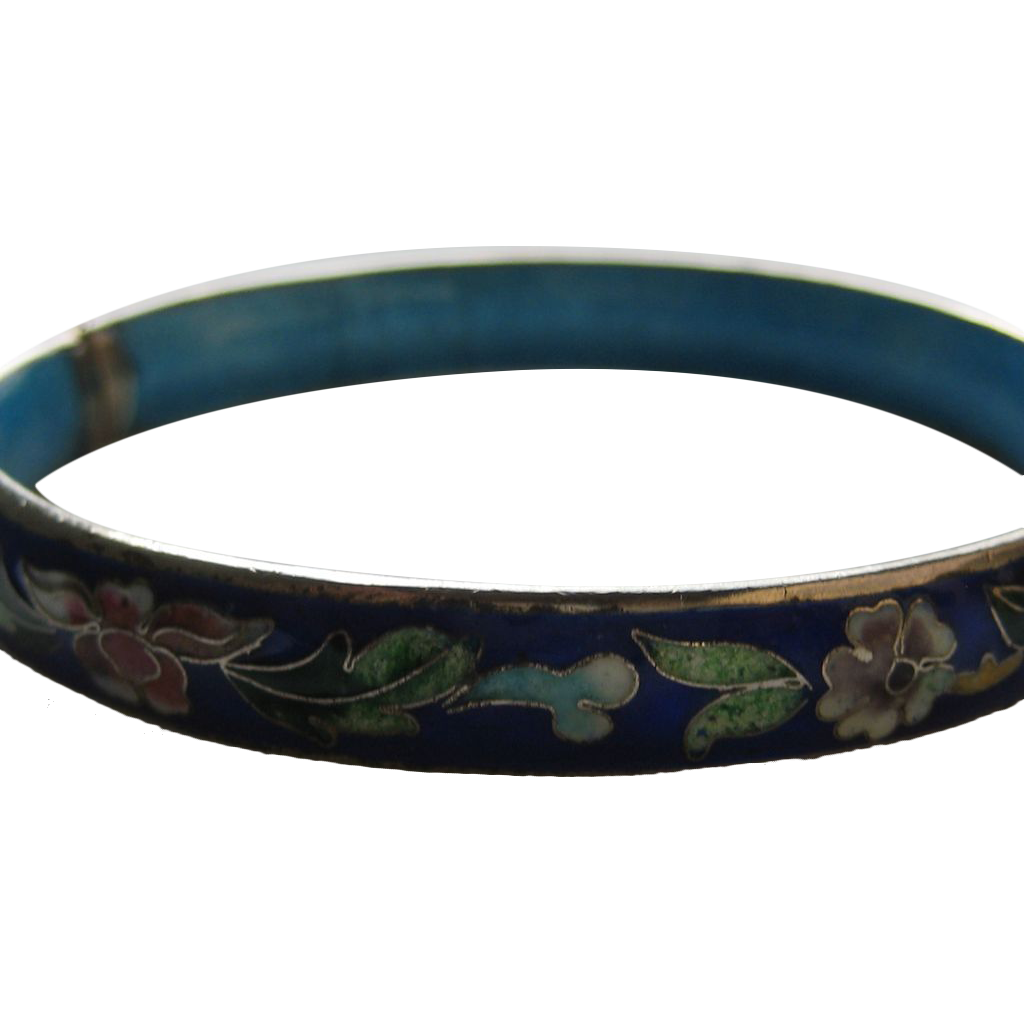 Vintage China Chinese Cloisonne Inlaid Flower Fl Bracelet Bangle Cosmic Jewelry Ruby Lane