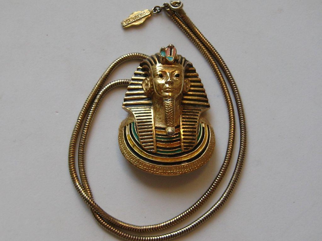 Vintage Eisenberg Egyptian King Tut Enamel Revival Brass