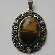 Vintage Mexico Taxco LOS BALLESTEROS Pendent Necklace TIGER EYE  Silver 925 Beautiful